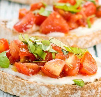 avocado tomato olive and basil bruschetta salad recipe by rasoi menu