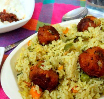 Green Pea Pulao with Paneer Koftas recipe by rasoi menu