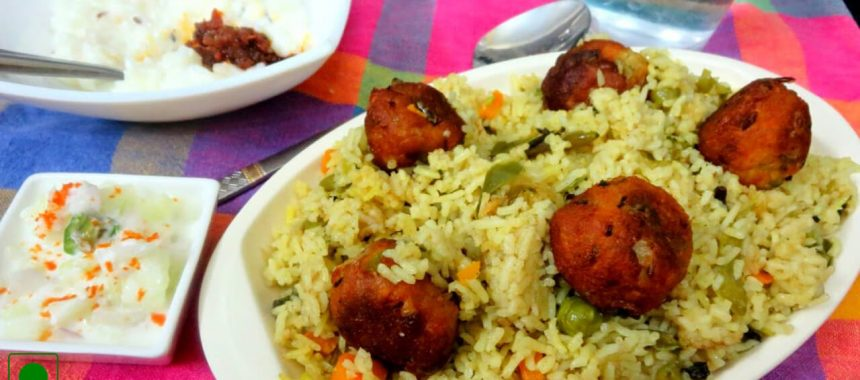 Green Pea Pulao With Paneer Koftas Recipe