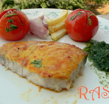 Baked Fish with Green Chutney Recipe