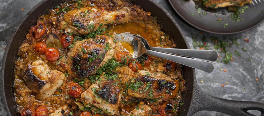 Pan Braised Moroccan Chicken Thighs Recipe
